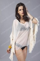 Wholesale Mini Vestidos Lycra - Seaside Style Sexy Women Beige Beach Dress Hot Sale Beachwear Cover Up Blouse Dress Swimwear Mini Cover Up Tassels Vestidos