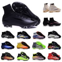 Wholesale Cr White Soccer Shoes - 2017 original mens botas de futbol What the Mercurial CR7 soccer shoes high ankle Ronaldo superfly FG VI HERITAGE CR football boots