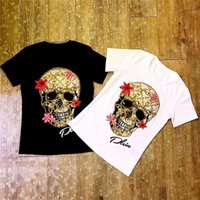 Wholesale Woman White Skull Tee - 2017 new label and tag top A quality women's ladies females brand beaded flower kito skull cotton short tee shirts S-XL free ship