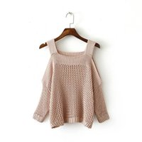 Wholesale plain pullover sweater - 2016121033 2016 Autumn Plain Jumpers Cold Shoulder Gigot Sleeve Knitter Wear Pullovers Casual Style Sweater