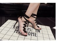 Wholesale Ladies Plastic Sandals - Ladies sandals Summer fashion Transparent plastic+Bandage sandals Crystal Stiletto heels fish mouth Sexy woman super high heels sandals