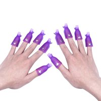 Wholesale Smart Nail Polish - 10Pcs Beauty Acrylic Nail Art Smart Soak Off Clip Cap UV Gel Polish Remover Wrap White Purple