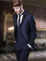 Wholesale Cheap Custom Blazers Men - Wholesale- Cheap Men Suit Business Custom Made Navy Blue Formal Dress Men Wedding Suits Groom Tuxedos For Men Blazer(Jacket+Pant+Vest+Tie)
