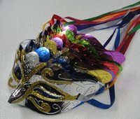 mistura de pó diretamente venda por atacado-Venda direta da fábrica de ouro Em Pó Máscara Pintada Máscaras Máscaras de Halloween Mardi Gras Venetian Dance Party Rosto A Máscara de Cor Mista 50 pcs