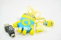 Wholesale Despicable Earphones - mp3 music player Hot Sell 10 pcs lot The Newest Despicable Me Cartoon Anime Shaped Card Reader MP3 Music Player With Earphone&Mini USB