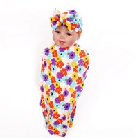 Wholesale Kids Sock Hat - Infant kids blankets baby boy girls cotton floral printed blankets+BOWS swaddler hats 2pcs sets Newborn kids cocoon sleep sock T0462