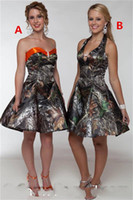 Wholesale Halter Knee Length Homecoming Dresses - 2017 Camo Short Prom Dresses Sweetheart Satin A Line Knee Length Prom Dress Party Dress Vestidos De Festa Homecoming Dresses