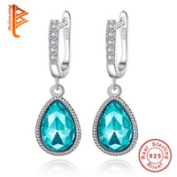 BELAWANG Real 925 Sterling Silver Earrings Pave Rhinestone Lake Blue Water Drop Dangle Brincos Para Mulheres Fashion Crystal Bridal Jewelry
