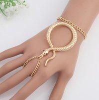 diseño de brazaletes de mano al por mayor-Anillo de dedo ajustable de serpiente y pulsera de cadena de mano para mujer, brazalete de encanto europeo y americano, joyería de diseño de moda, regalo de Navidad
