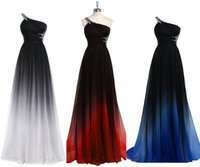 Wholesale Empire Waist Prom - 2017 Gradiant Color Evening Dresses One shoulder Empire Waist Chiffon Black Royal Blue Designer Long Prom Formal Pageant Dress