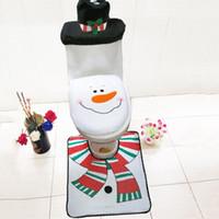 Wholesale Wholesale Washable Rugs - Wholesale-3pcs set Chrismas Decoration Snowman With Hat Warmer Washable Bathroom Toilet Cover Rug Christmas Toilet Set For Home