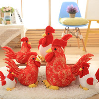 Wholesale Christmas Packaging For Toys - 2016 Real Chicken for Baymax Packages Mailed A Turkey 2017 New Year Mascot Rooster Hen Doll Plush Toys Pillow Girl for Gift