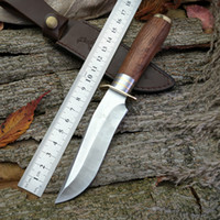 Wholesale Precision Numbers - The ELK Ridge deer number one jungle straight knife, red wood + precision casting pure copper hilt, outdoor survival adventure high hardness