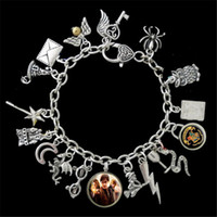 Wholesale Themed Plates - 6pcs HP Themed Charm Bracelet, Golden Snitch silver tone