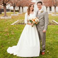 Wholesale New Hot Elegant Bridal Gown - Hot Selling New Vintage Wedding Dresses White Ivory Elegant V-Neck Sweep Train 3 4 Long Sleeve Classical Bridal Gowns Vestido De Noiva W803