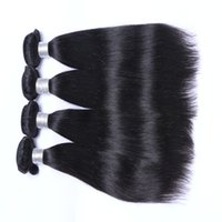 saç uzatma atkı parçaları toptan satış-9A Virgin İnsan Saç Brezilyalı Malezya Perulu Hint Saç Uzantıları 3/4 adet Lot Brezilyalı Düz Saç Çift Atkı Doğal Siyah