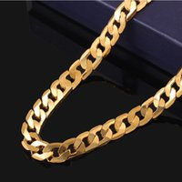 Wholesale Thick Steel Necklaces - New Big 10MM Dia Yellow Solid 18K Gold Plated Filled Cuban Chain Necklace Thick Mens Jewelry Womens Cool for dad boyfriend birthday gift