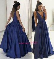 Wholesale Size 24 Evening Gowns - Sexy Deep V-Neck Backless 2017 A-Line Prom Dresses with Straps V-Back Dark Navy Satin Long Party Wear Cheap Evening Formal Gowns Simple 24