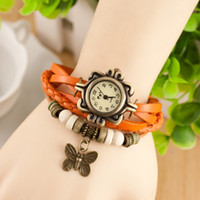 Wholesale Leather Band Watch Eiffel Tower - 7Style Women Leather Band WristWatches charm Bracelet Retro Watches Vintage Eiffel Tower Pendant Watches Weave Wrap Quartz Watches for Lady
