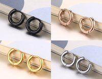 New Fashion Stainless Steel Circle Black Gold Rose-gold Plated Stud Mulheres e homens Brincos 4 cores 3 tamanhos