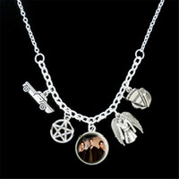 Wholesale Photo Coating - 12pcs lot Supernatural Themed car coat wing plate Charm photo Statement Necklace silver tone c1410