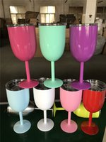 Wholesale Glass Pot Cup - 10oz 400ml Vacuum Stainless Steel Cocktail Glass Wine Glass Goblet with Lid Car Cup b827
