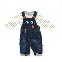 Wholesale Suspenders Tshirt - Baby Boys Clothes Fall Winter Long Sleeve Cotton Tshirt Jeans Suspender 2Piece Sets Smile Pattern American Style Infant Boy Clothing
