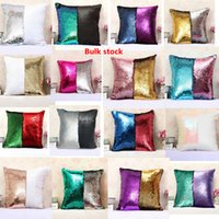 Wholesale Knitted Square - Sequins Pillow Case Mermaid Cushion Cover Magical Two-color Changing Bright Pillowcase Shams Home Sofa Car Christmas Decor 36 Style SF31