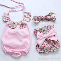 Wholesale Sunflower Headbands - INS styles Hot sell fant girl Summer 3 piece set 100%Cotton halter sunflowers romper+ short +headbands baby clothing girl 3 pieces sets 0-3T