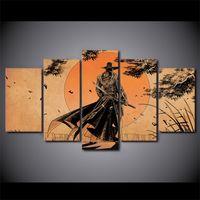 anime bilderrahmen großhandel-5 Teile / satz Gerahmte HD Gedruckt Comic Samurai Anime Home Wand-dekor Poster Leinwand Kunst Malerei Wandbilder Modulare Malerei
