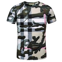 Wholesale Shirt Military Fashion - Fashion Brand men T-shirt Designer Spring Summer Color men Vacation Short Sleeve Grid Military green embroidery Tees Casual Tops men T-shirt