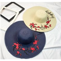 Wholesale Derby Floppy Hat - Women Foldable Floppy Letters And Flowers Embroidery Starw Sunhat Wide Brim With Ribbon Trim Cap Sun Protection Summer Hats