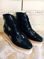 Wholesale Brogue Boots - Stella Mccartney Boots Shoes Binx Brogue Platform Elyse Derby Black Genuine Leather Dark Grey Star White Sole