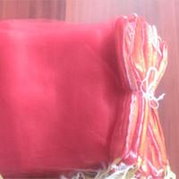 ingrosso nastro di rete a rete-100 pz / lotto 20x40 cm / 26x50 / 23x50 cm / 30x60 cm colore rosso morbido robusto Poly-Mesh Net Borse per verdura, uova e frutta con il nastro Spedizione gratuita