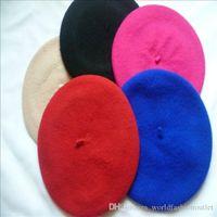 boina roja para niños al por mayor-Orejeras Niños Gorras Sombreros Moda Sombrero Fábrica Estilo coreano Preppy Lana Niños Chicas Boina Sombreros Otoño Invierno Bebé Niños Gorras Boinas rojas