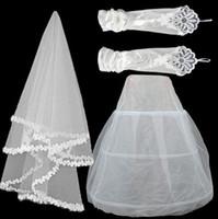 Wholesale Lace Mesh Bridal - Bridal Veils sets 3pcs a set --Veils Lace yarn Veils  Stretch Satin gloves  Mesh skirt support Three piece set Bridal Accessories