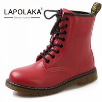 Wholesale Thick Sole High Heel Boots - Wholesale- 2016 Medium Heels Women Ankle Boots Thick Heels Skid-proof Sole Lace Up Boots Spring Fall Shoes Sole Rubber Women Shoes