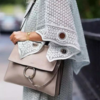 Wholesale Envelope Satchel - Wholesale- 2016 Famous Brand Genuine Leather Woman Bag Handbags Circle Ring Suede Messenger Bags Envelope Patchwork Clutch Bag