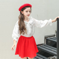 Wholesale Girls Long Sleeve Ruffle Tee - Everweekend Big Girls Bow Floral Bell Sleeve Tees with Red Ruffles Dress 2pcs Sets Princess Korean Fashion Autumn Party Outfits