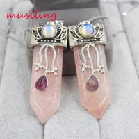 Wholesale Energy Necklace Stones - musiling Jewelry Sword Pendants Natural Stone Energy Balance Reiki Pendulum Rose Quartz Charms Healing Chakra Amulet Mens Jewelry