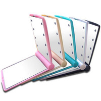 Wholesale Led Mirror Covers - makeup Mirror LED Light Desktop Portable Compact 8 LED lights Lighted Travel Make up Mirror Flip Cover Mirror F2017225