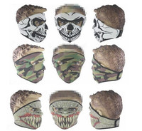Wholesale Tactical Hood full Face Skull Heads Mask Protection Balaclava Hats Wind proof Wargame Face Masks cycling hoods Halloween masks