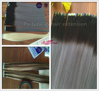 Wholesale 125g Hair Extensions - 100% Human hair Pu Tape Skin Hair Extensions 2.5g pcs, 50pcs Lot&125g set Ombre Color 2# Grey