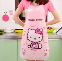 Wholesale Apron Funny Kitchen Aprons Kawaii Hello Kitty Waterproof Anti oil Delantal Cocina Cooking Tools Accessories For Women