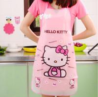 ingrosso cucina a gattino-Grembiule da cucina divertenti Grembiuli Kawaii Hello Kitty impermeabile anti-olio Cocantina Cocina Strumenti di cottura Accessori per le donne