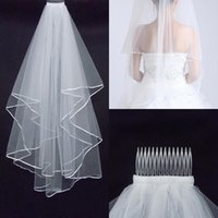 Wholesale edging ribbons - Cheapest Two-Layer Wedding Veils Real Garden Veils Shoulder-Length With Comb High Quality White Veils for Wedding