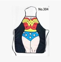 Wholesale Funny Whimsy Superwomen Superman Aprons Cosplay Party Dress Sexy Funny Mother s Day Gift Couples Aprons Wedding Gift Cartoon Aprons