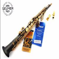 Wholesale sax soprano black - 2017 high quality Soprano saxophone54 B sax musical instrument matt one pieceTop Black nickel gold saxophone