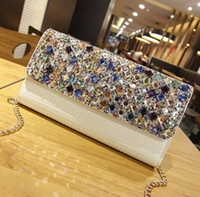 Wholesale White Purse For Wedding - Colorful Rhinestones Evening Diamonds Shoulder Bags Clutches Evening Purse Wedding Day Clutch Evening Bags for Party Bag