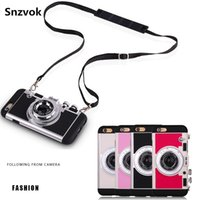 Wholesale South Korean Phone Cases - For iPhone 6S 7 plus South Korean Amigo Camera Phone Cases Cover Silicone Anti-knock Cell Phone Case For iPhone 5 6 plus Shoulder Strap Bag
